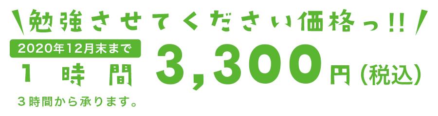 勉強させてください価格っ!! 1時間3,300円